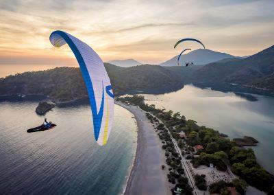 skywalk SPICE paraglider white sunset lightweight