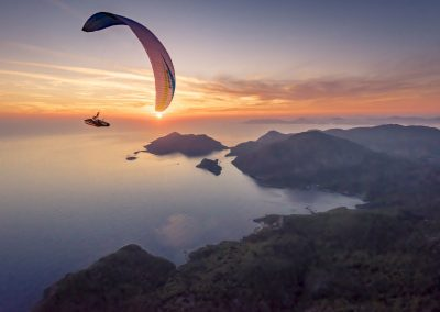 skywalk SPICE paraglider white sunset