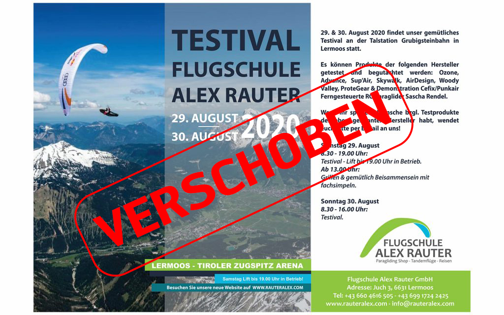 Testival Flugschule Alex Rauter – Verschoben auf 05.&06.09.2020